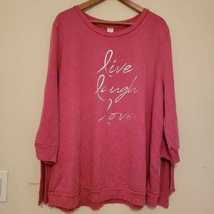 Lane Bryant Livi Active Pink tie sweatshirt